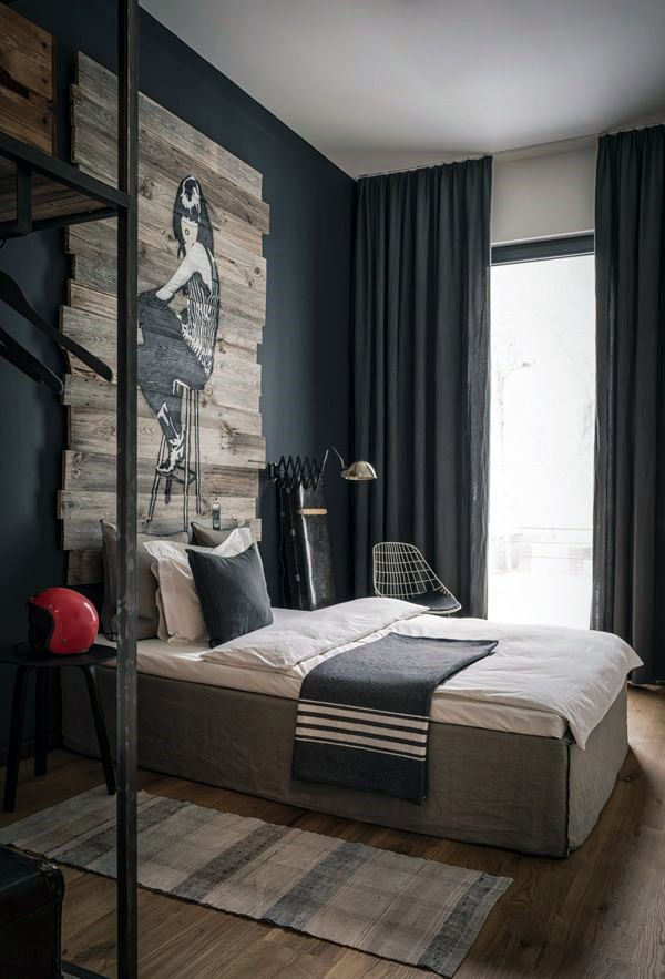 #blackwalls #blackinterior #Bedroom Going To Put The Bed In This Position  Like The · Male Bedroom DecorBedroom IdeasMenu0027s ...