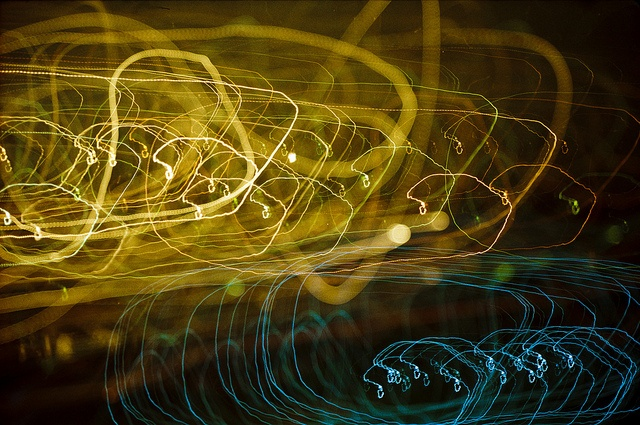 Fed 5 experiment by Jawad Qasrawi. This is a dual exposure - both on bulb for about 30 seconds. One shot at infinity, one at 1 metre. I waved the camera around pointing it at some distant city lights.  Fed 5, Kodak Gold 200, 35mm, scanned neg, processed in Lightroom.