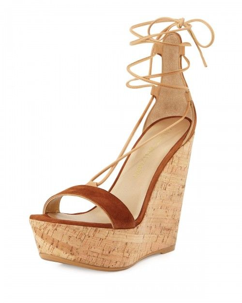 Stuart+Weitzman+Wrap+It+Suede+Lace+Up+Wedge+Sandals+Saddle+Women's+38+5b+8+5b+|+Shoes+and+Footwear