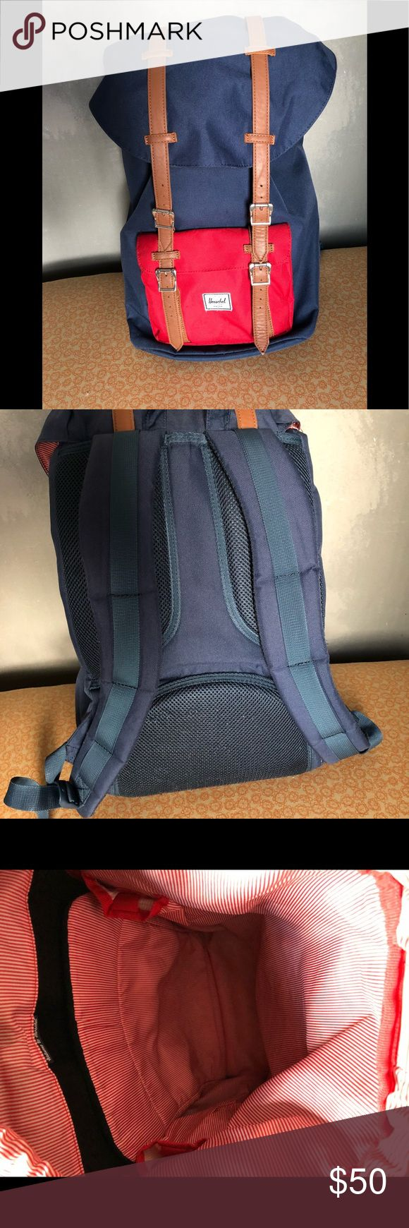 Little America navy Herschel backpack Used but in good condition. Just washed!  There is some wear on the cinch closure as shown in the last image. Herschel Supply Company Bags Backpacks