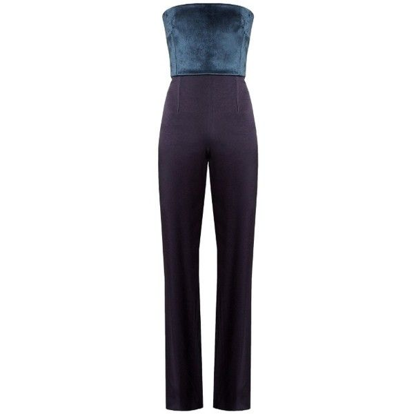 Galvan Strapless velvet and crepe jumpsuit (£1,190) ❤ liked on Polyvore featuring jumpsuits, jump suit, crepe jumpsuit, velvet jumpsuits, strapless jumpsuit and metallic jumpsuit