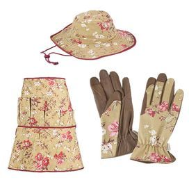 Three-piece cotton gardener set with a Victorian rose motif. Includes a hat, apron, and two gloves.  Product:  Gardening gloves, hat and apron Construction material: 100% CottonColor: Multi Features: Six pockets on the apron