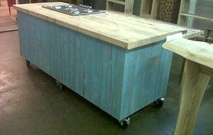 Benches Made From Bed Frames | This mobile kitchen island with oven and hob was made for a local ...