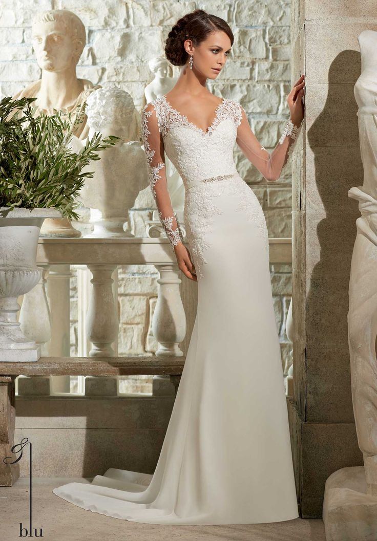 Fresh Elegant column wedding dress with sparkling Venice Lace Appliques on Chiffon Georgette Removable Beaded Satin Belt and long slim sleeves