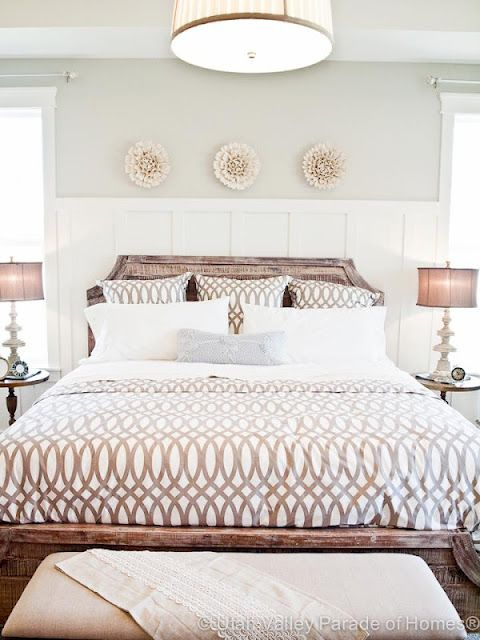 Bedroom inspo: board and batten behind bed (like the height in relation to headboard)