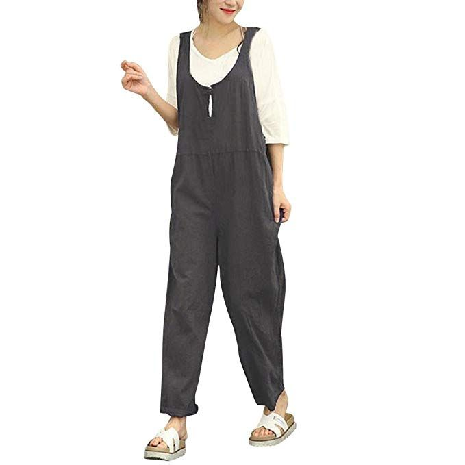 Iyyvv Women Cargo Sleeveless Dungarees Loose Cotton Long Playsuit