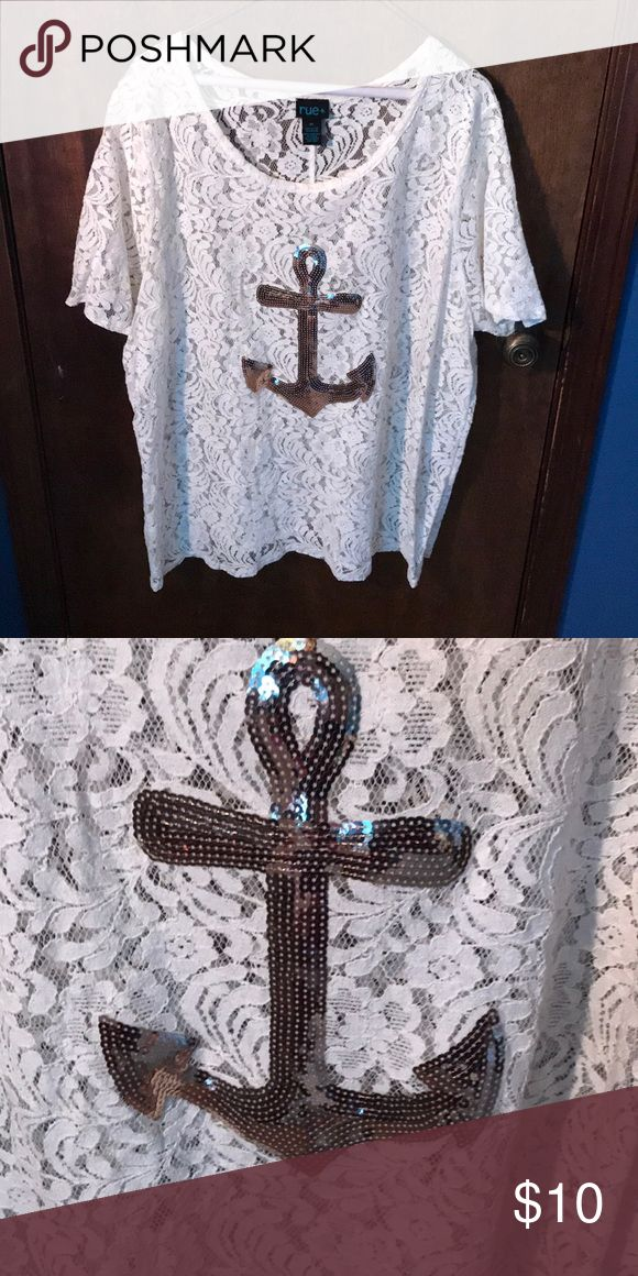 Lace & sequin anchor shirt Worn maybe 2-3 times. Very cute shirt! Rue 21 Tops