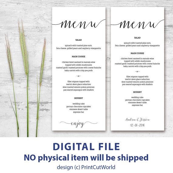 Printable menu card 4x9 Rustic wedding menu template Instant downolad Editable menu cards Kraft menu cards Minimalist Modern