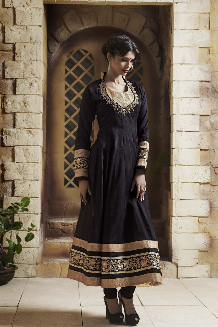 Shop Online at  http://www.ethnicdukaan.com/art-silk-anarkali-with-zari-embroidery-stone-embellishment-d0302001