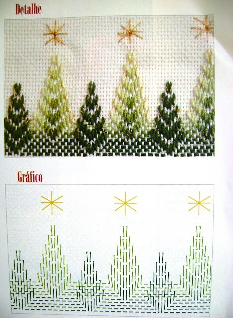 Really neat Christmas tree design in Huck Weaving - Dina Inspirações: Vagonite