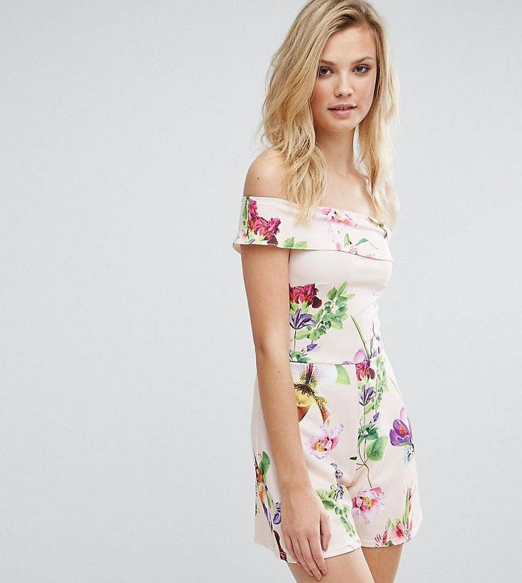 Oh My Love Tall Bardot Romper In Floral Print - Pink