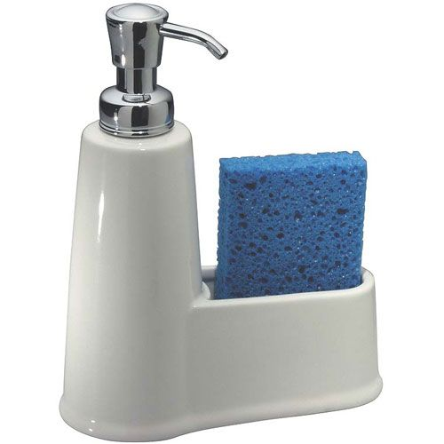 "Make it easier to wash your hands or dishes with the York Soap and Sponge Caddy featuring polished chrome lid and nozzle Width	Height	Depth	Ship Weight 6.5""width	8.5""height	3""depth	2 lbs ship weight"