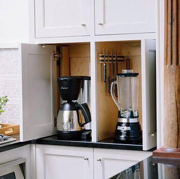 Great #kitchen #Storage idea to tuck away #appliances