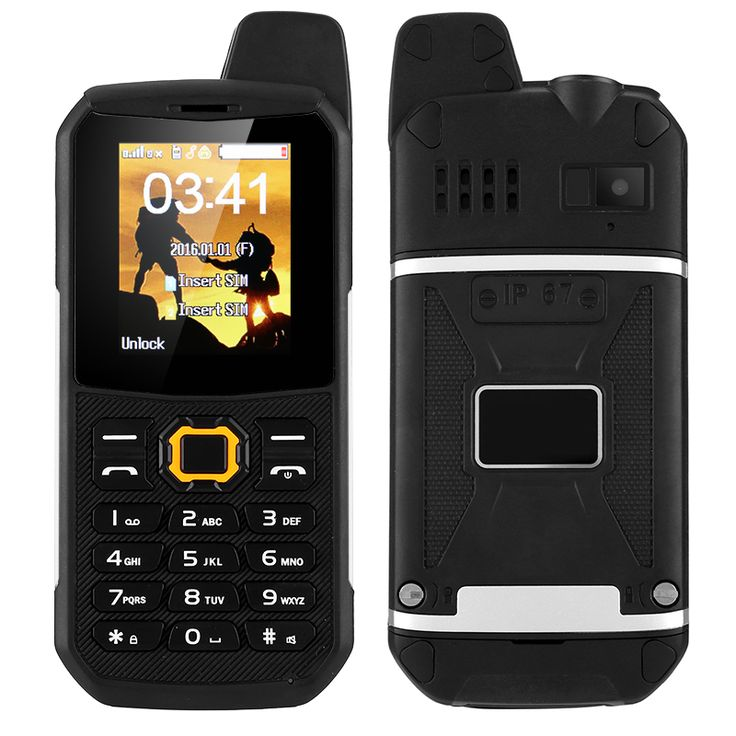 Rugged Outdoor Phone - IP67, Dual-IMEI, Walkie-Talkie, Camera, FM Radio, 3000mAh Battery, Power Bank Mode (Black) - This fully rugged GSM phone is built to withstand the harshest of environments. Waterproof, dustproof, and drop proof - this phone follows you everywhere.