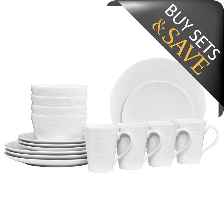 Noritake® White on White Swirl Coupe 16-Piece Dinnerware Set