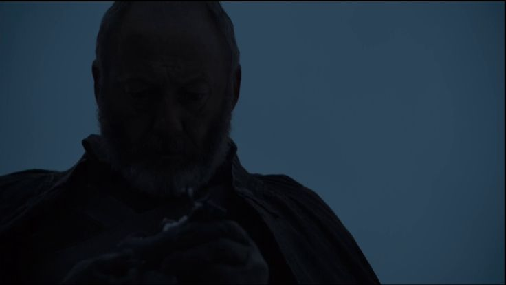 He finds the toy he carved for Princess Shireen.  He notices that it is charred. He checks the ground in the area and realizes it is the remains of a stake and fire. He understands now what happened to Stannis' daughter, and who is ultimately responsible.