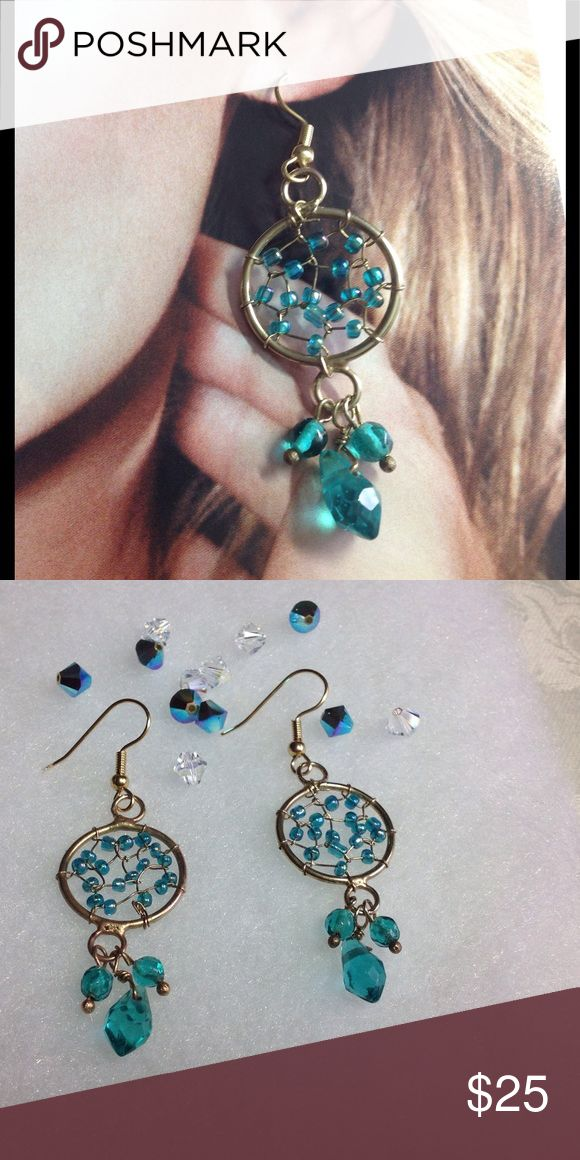 TEAL CRYSTAL WEB EARRINGS LKP Beautiful in design of a web these earrings are made with seed beads. Teal teardrops attached. Gold plated hooks used. 🌺 Once purchased and accepted --Sorry No Refund 🌺 Fireglow Gem Jewelry Earrings