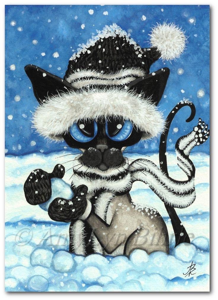 Siamese Cat Snowballs Art Prints & ACEOs by Bihrle by AmyLynBihrle