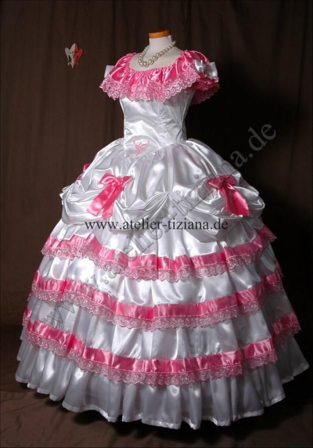 White Satin Ball Gown with Pink Ruffles