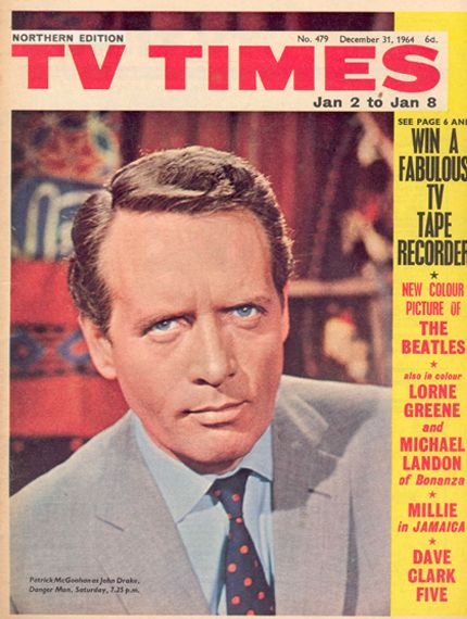TV Times Northern Edition  Jan 2nd - 8th 1965 featuring Danger Man with Patrick McGoohan