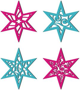 Silhouette Design Store - View Design #35762: 4 christmas stars