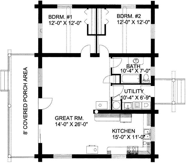 Log style house plans 1200 square foot home 1 story 2 bedroom and