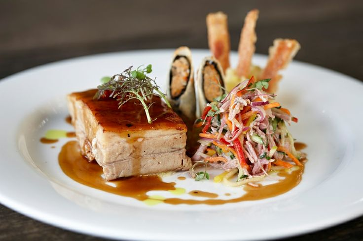 Another one of our delicious dishes at the Swan Valley's RiverBank Estate which recently featured on our seasonal menu - trio of pork with pork belly, pork spring rolls and pork salad.
