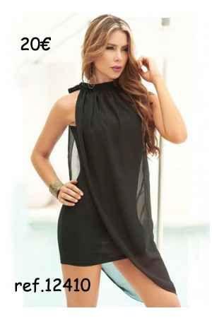 Vestido de fiesta corto negro capa de gasa - Corsets online lenceria vestidos