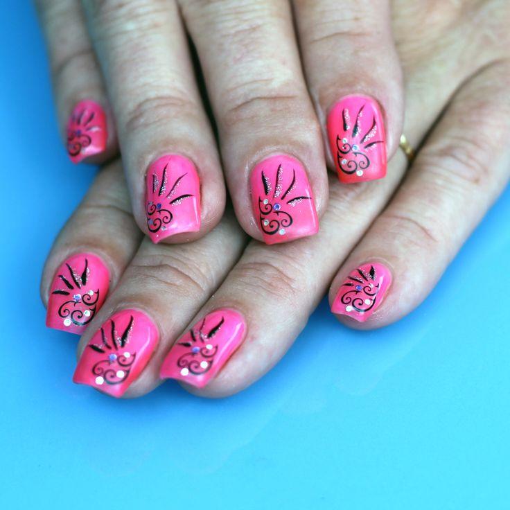 Uv Gel Nail Art | Manucure faux ongles Nail Art en Gel UV couleur Rose Néon avec ...