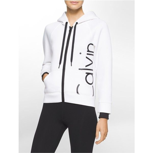 Calvin Klein Women's Performance Hilo Hooded Sweater (1,750 MXN) ❤ liked on Polyvore featuring tops, white, calvin klein, logo top, hooded top, calvin klein tops and white top