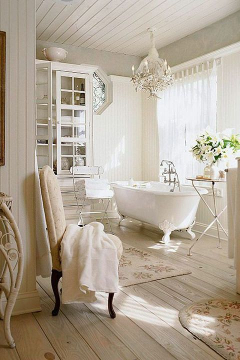 Pull together a rustic-inspired bathroom with an old-fashioned standalone bathtub for a vintage look.