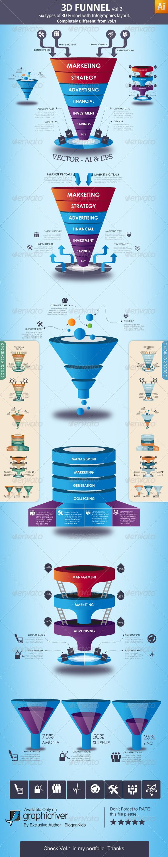 Love this design for a sales funnel... 3D Funnel Vol.2