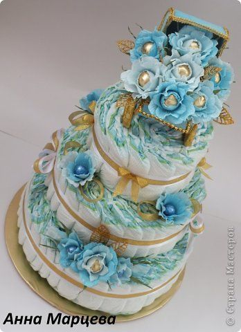Всем привет! Вот вашему вниманию торт из памперсов для маленького карапуза Кирилла. Это мой первый торт из подгузников. фото 1