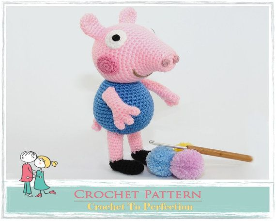 Amigurumi PATTERN Goerge Pig Crochet Amigurumi by TatieSoftToys