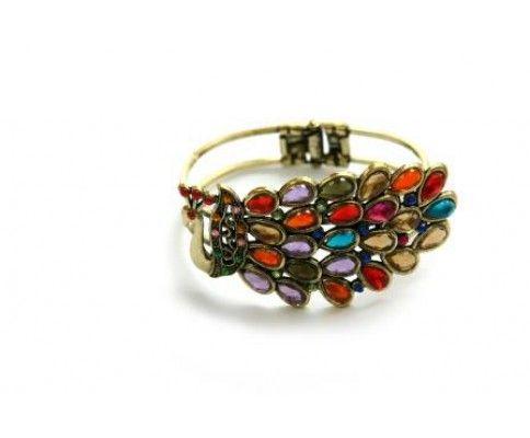 Náramok páv pevný medený. Peacock cuff bracelet. #womanology #jewelry #accessories #peacockjewelry