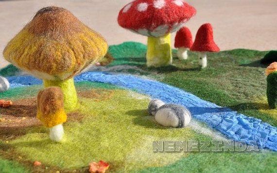 Waldorf Play Mat Mushroom 3D Large Steiner Nature by Nemezinda