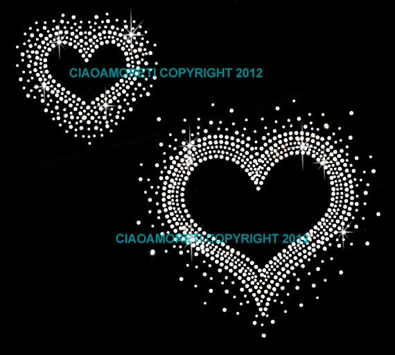 2 hearts clear rhinestone iron on hotfix transfer by loveforbling