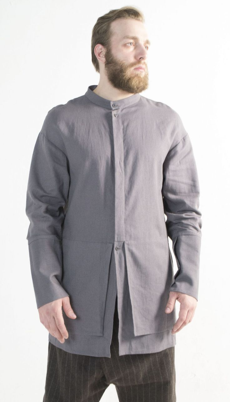 Shirt Binchotan ashed linen – by independent designer Nomad Goba, €80 at Vathir.com | Narrow high cuff with two buttons. Pockets on both sides.