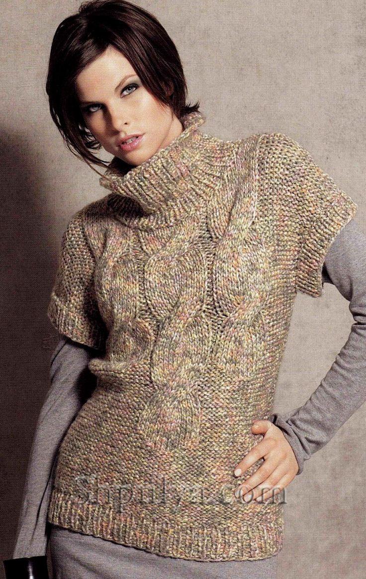 Пуловер с рукавами кимоно из толстой пряжи