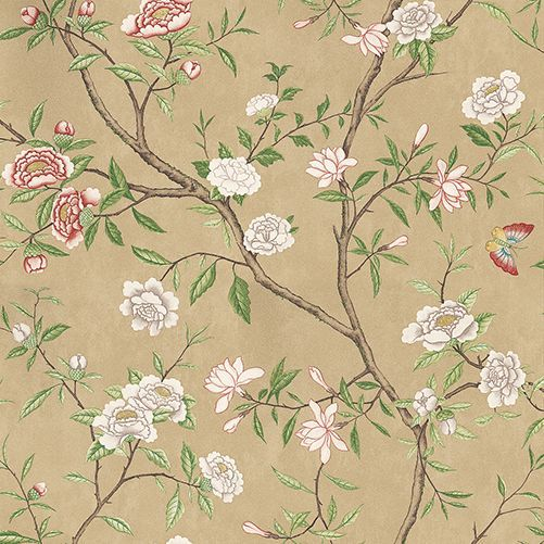 Nostell Priory   Old Gold/ Green wallpaper by Zoffany