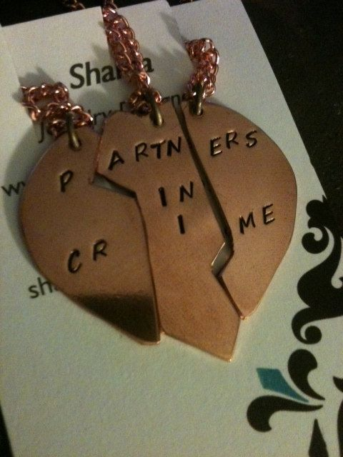 For my bestist friend Ariana and me! Partners in Crime Necklace Set custom personalized by shama, $42.00