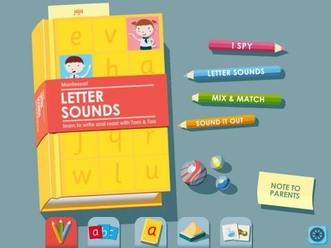 Montessori Letter Sounds HD - an excellent (if not the best) set of tools for patient parents for teaching basic reading, spelling and writing skills.  Original Appysmarts score: 86/100
