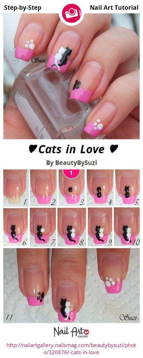 ♥ Cats in Love ♥ by BeautyBySuzi - Nail Art Gallery Step-by-Step Tutorials nailartgallery.nailsmag.com by Nails Magazine www.nailsmag.com #nailart