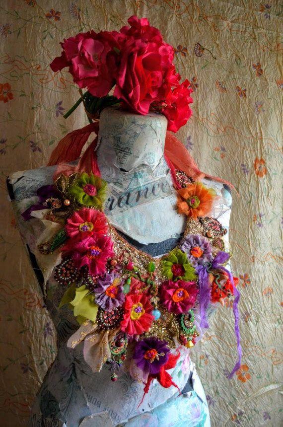Fata romantica collana Boemia tessile di IrinaBohemianDance