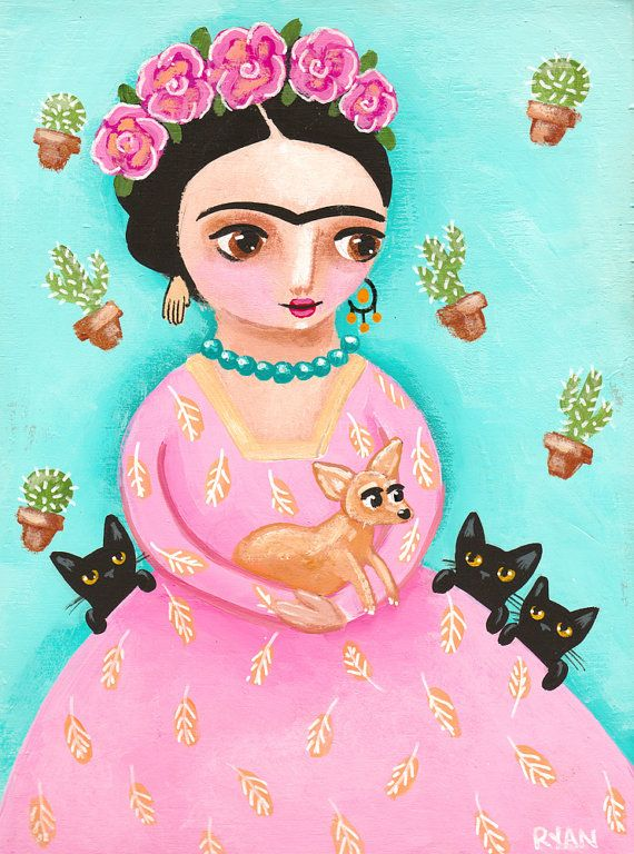 Frida and Friends - Original Dog and CAT Folk Art Painting by KilkennycatArt