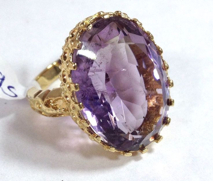 9ct gold large amethyst solitaire ring with ornate setting. UK size P. Actual one shown. Amethyst gemstone measures 25 x 19 mm approx, contains some inclusions. Weight of ring approx 13.7g. | eBay!