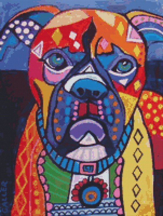 Modern Cross Stitch Kit 'Boxer Dog' By Heather by GeckoRouge, $84.00