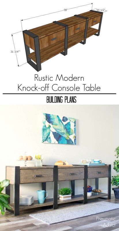 How to build an 8 foot long modern rustic console table or buffet from off the shelf lumber