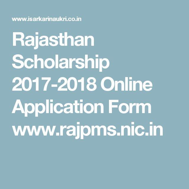 Rajasthan Scholarship  Online Application Form WwwRajpms
