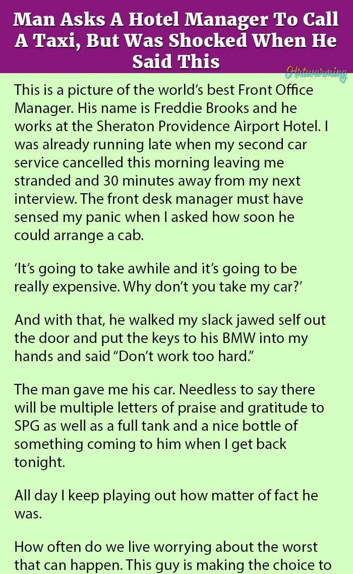 Man Asks A Hotel Manager To Call A Taxi But Was Shocked When He